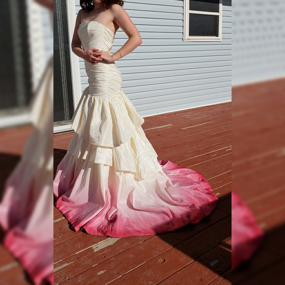Amsale Hand Painted Pink Ombre Wedding Dress